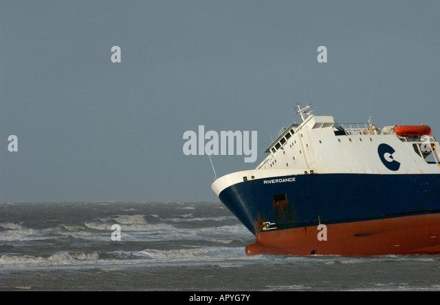 The bows of the stricken Ro-Ro Ferry 'Riverdance' beached near Blackpool, Lancashire - Stock Image