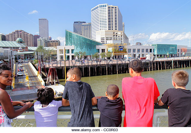 New Orleans Louisiana Mississippi River Algiers Ferry CCCD Canal Street ferryboat navigation public transportation - Stock Image