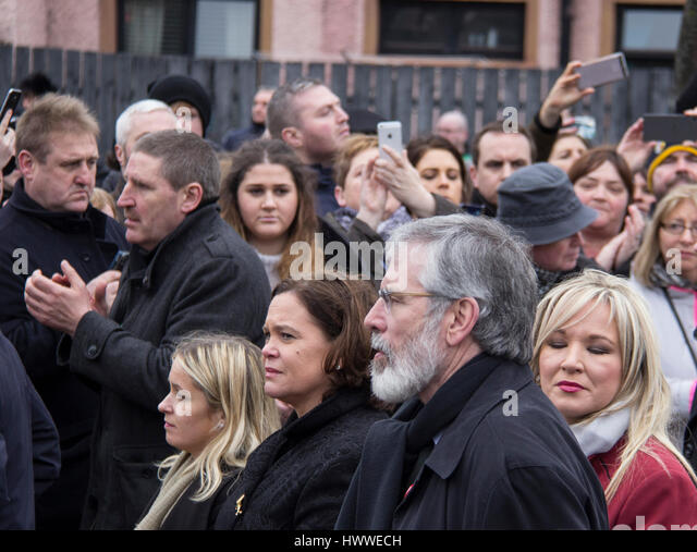 Derry, Northern Ireland. 23rd Mar, 2017. Gerry Adams and Michelle O'Neill at Martin McGuinness Funeral Credit: - Stock Image