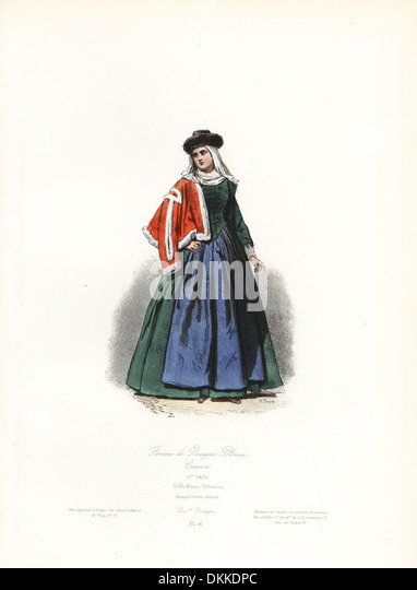 Bourgeois woman from Cracow, Poland, 17th century. - Stock Image