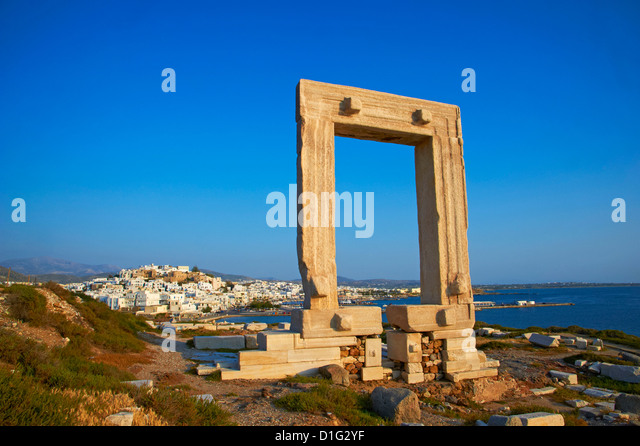 Gateway, Temple of Apollo, archaeological site, Naxos, Cyclades, Greek Islands, Greece, Europe - Stock Image