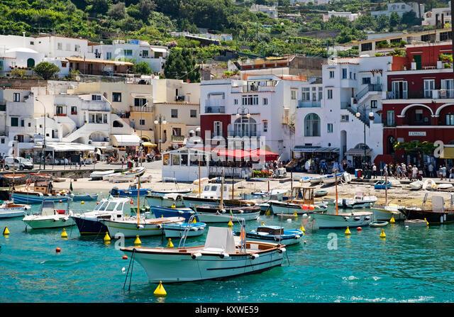 marina grande on the island of capri, italy. - Stock Image