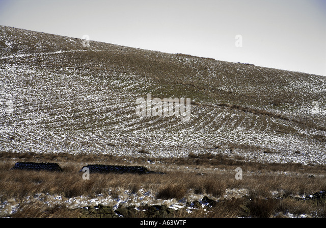 Ridge and furrow highlighted by light snow fall near Tom Hill Cheesden Pasture (continued..) - Stock Image