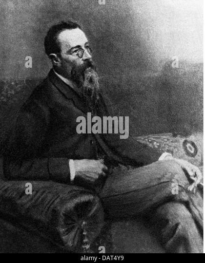 Rimsky-Korsakov, Nikolai, 18.3.1844 - 21.6.1908, Russian musician (composer), half length, circa 1900, sitting, - Stock Image