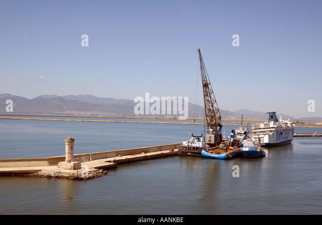 entrance Cagliari Port Sardinia landmark symbol holiday vacation destination outside outdoor outdoors coast coastal - Stock Image