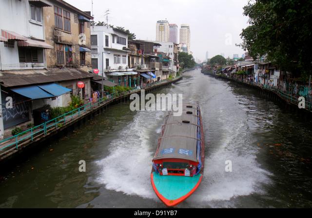 Bangkok Thailand Pom Prap Sattru Phai Mahanak Canal Worachak Road water taxi ferry express boat - Stock Image