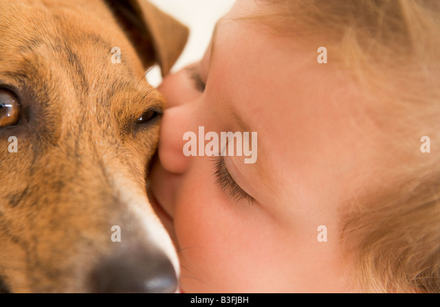 Baby kissing dog - Stock Image