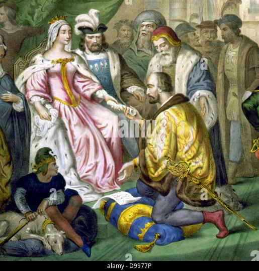 Christopher Columbus before Queen Isabella of Spain - Stock-Bilder