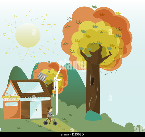 House with sustainable resources - Stock Image