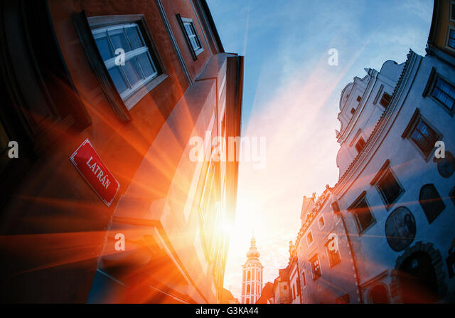 Sunset over Carlovy Vary, Czech Republik - Stock-Bilder