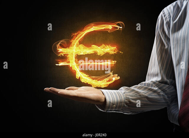 Euro currency fire symbol - Stock Image