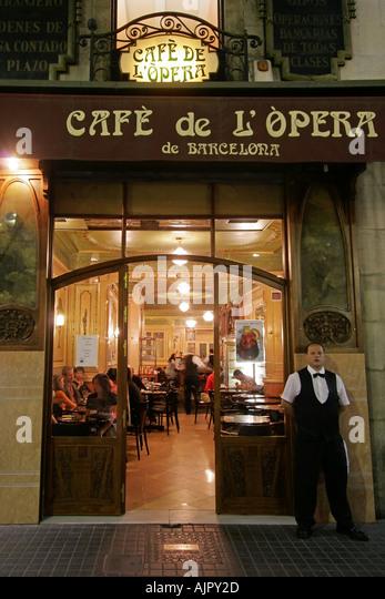Spain Barcelona Cafe Opera Ramblas - Stock Image