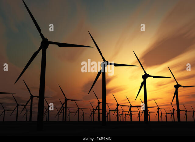 Wind power stations - Stock-Bilder