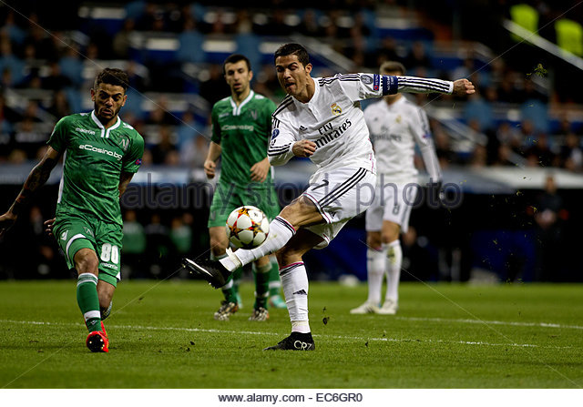 SPAIN, Madrid: Real Madrid's Portuguese forward Cristiano Ronaldo during the Champions League 2014/15 match - Stock Image