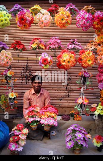 Flowers seller in Katmandu, Nepal - Stock Image