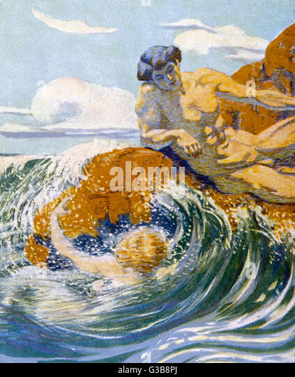 'On a rocky shore'          Date: 1913 - Stock Image