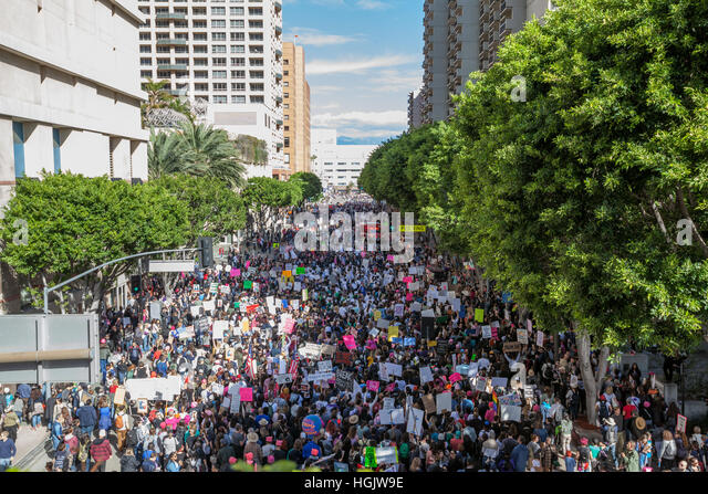 Los Angeles, USA. 21st Jan, 2017. 5th St at Olive, Women's March in Los Angeles. Credit: Kayte Deioma/Alamy - Stock Image