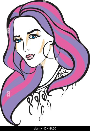 Portrait of beautiful woman. Color vector illustration. - Stock-Bilder