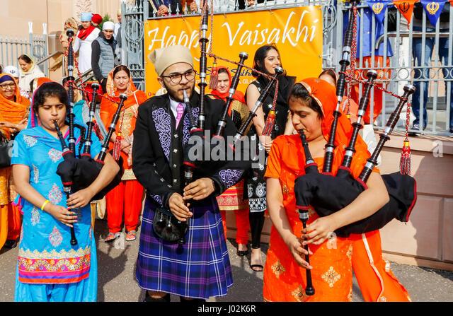 Glasgow, Scotland, UK. 9th April, 2017. More than 1000 members of Scotland's Sikh community met in Glasgow to - Stock-Bilder
