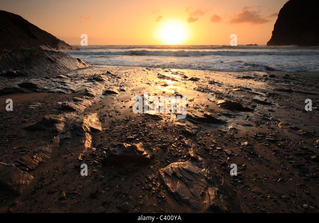 Crackington Haven - sunset, North Cornwall, England, UK - Stock Image
