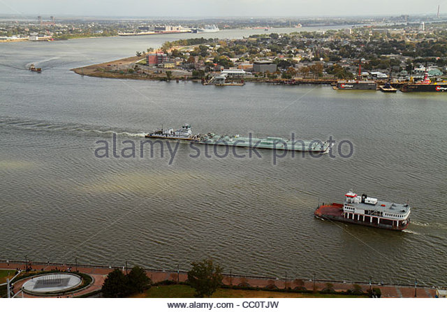 New Orleans Louisiana aerial Mississippi River Algiers Canal Street Ferry Woldenberg Park waterway river bend transportation - Stock Image
