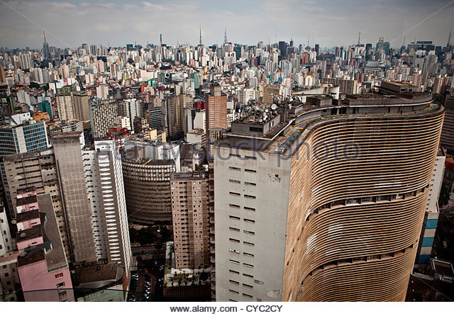 Views of Sao Paulo and Copan Building from Terraco Italia. - Stock Image