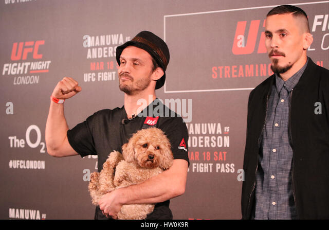 London, UK. 16th Mar, 2017. Brad Pickett and Marlon Vera face off ahead of thier main card fight during UFC London: - Stock Image