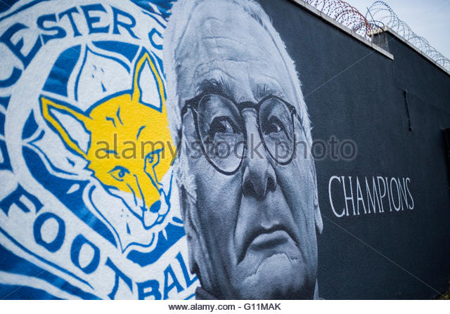 Leicester City, UK. May 7th 2016. Street artist Richard Wilson has created a giant Claudio Ranieri mural on a wall - Stock Image