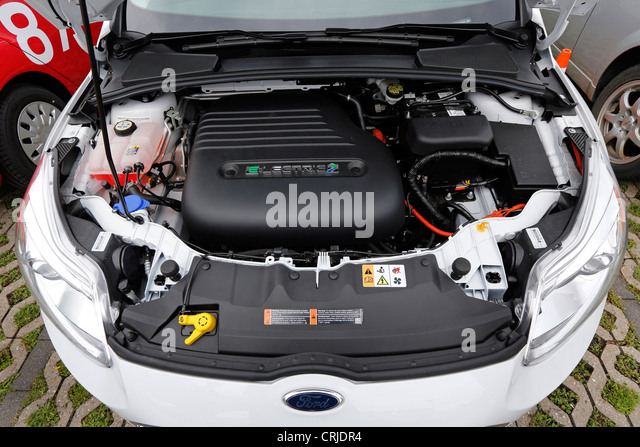 Electric engine of the Ford Focus ELECTRIC car - Stock Image