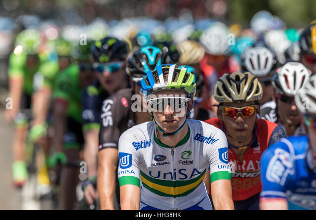Adelaide, Australia. 17th January, 2017. Cyclists from Team UNISA (UNA) during Stage 1 of the Santos Tour Down Under - Stock Image