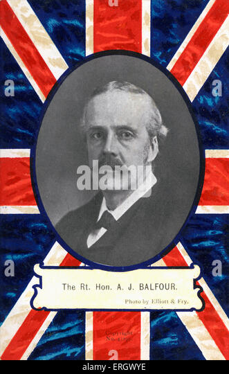 BALFOUR, The Right Honourable A J - portrait Creator of the Balfour Declaration - provided for creation of Jewish - Stock Image