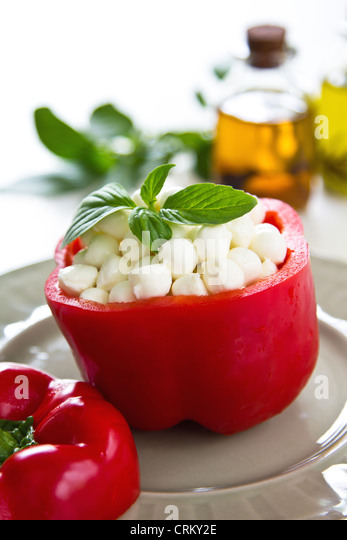 Pearl mozzarella in pepper - Stock Image