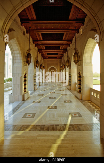 Sulatan Quabos Mosque in Muscat, Oman, Arabia, Arabic Peninsula, Middle Asia, Asia - Stock Image
