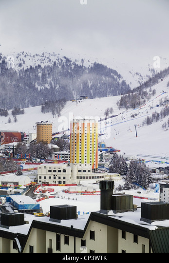 Piemonte Sestriere (TO) with Towers (designed by Vittorio Bonade-Bottino, 1930), during XX Olympic Winter Games - Stock Image