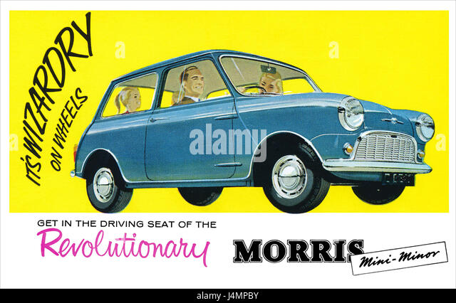 Vintage advertising postcard for the Morris Mini-Minor. - Stock Image