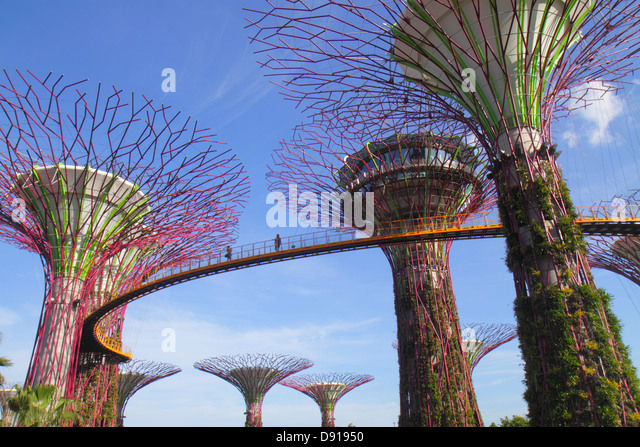 Singapore Gardens by the Bay park Supertrees elevated walkway - Stock Image