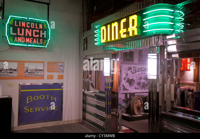 Rhode Island Providence Johnson & and Wales University school Culinary Arts Museum collection exhibits neon - Stock Image