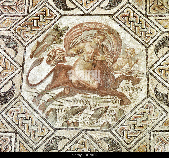 Mosaic depicting the myth of the 'abduction of Europa'. - Stock Image