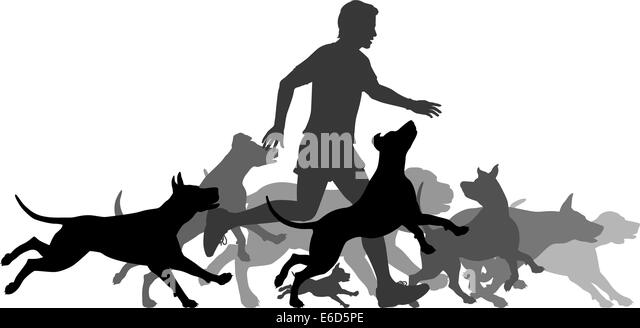 Editable vector silhouettes of a man and pack of dogs running together with all elements as separate objects - Stock Image