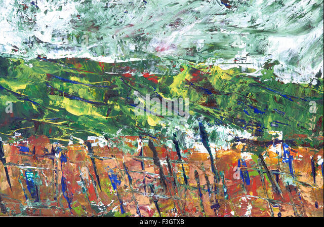 Abstract landscape watercolor on paper - Stock-Bilder