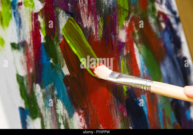 painting with acrylic colors - Stock Image