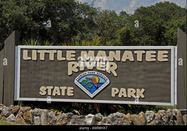 Florida State Parks Little Manatee River park sign - Stock Image