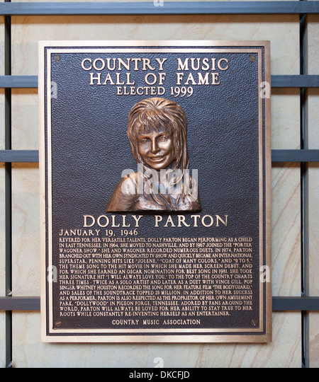 A bronze Dolly Parton Plaque inside the Country Music Hall of Fame in Nashville, TN, USA - Stock Image