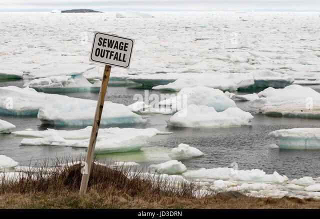 Sewage Outfall Sign - Bonavista, Newfoundland, Canada - Stock Image