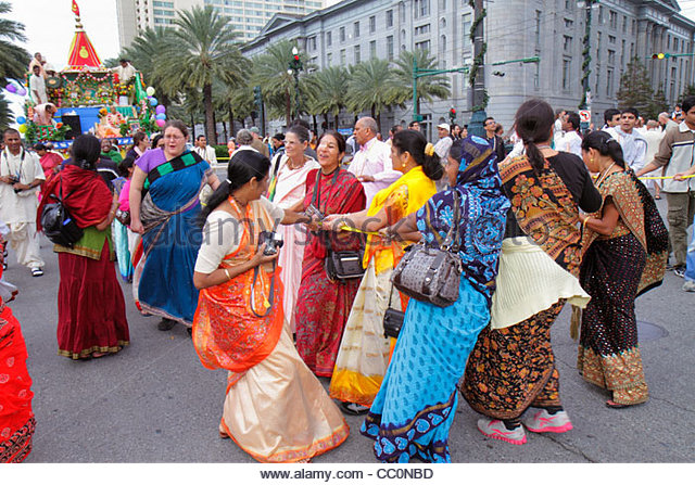Louisiana New Orleans downtown Canal Street Festival of India Rath Yatra Hare Krishna Hinduism Eastern religion - Stock Image