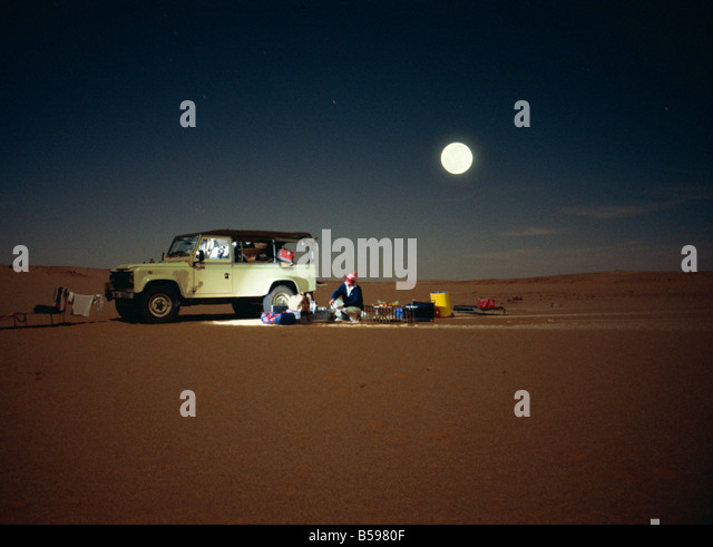 Sahara Desert at night Algeria North Africa Africa - Stock Image