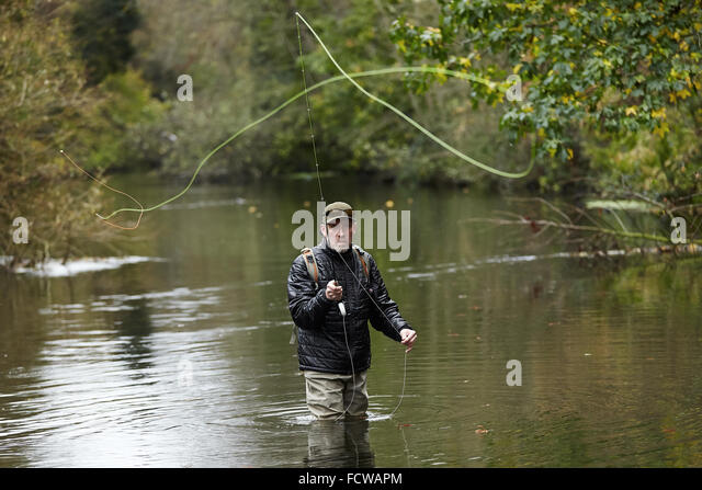 A man fly fishing in a river - Stock Image