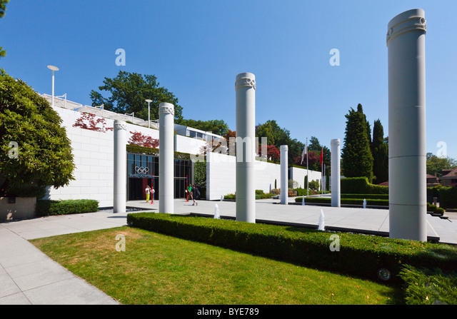 The Olympic Museum, opened in 1993 on the initiative of Juan Antonio Samaranch, Lausanne, Canton of Vaud, Lake Geneva - Stock Image
