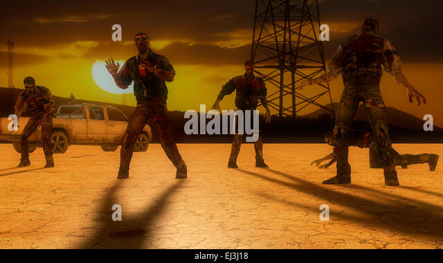 Caution zombies alert - Stock Image
