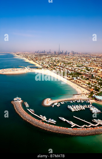 aerial view over Dubai and Jumeirah beach - Stock Image